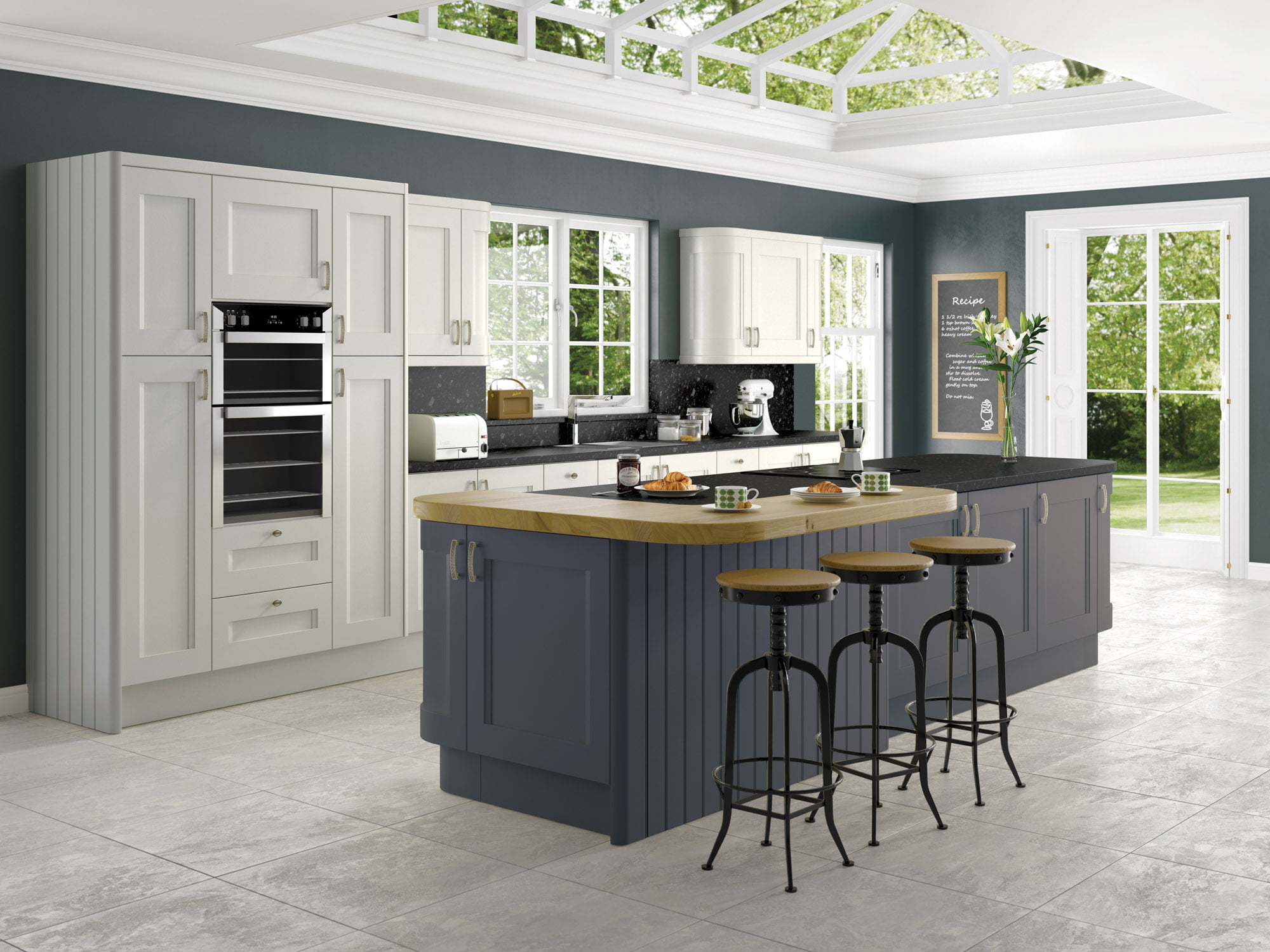 haddington storm grey with anthracite in frame kitchen