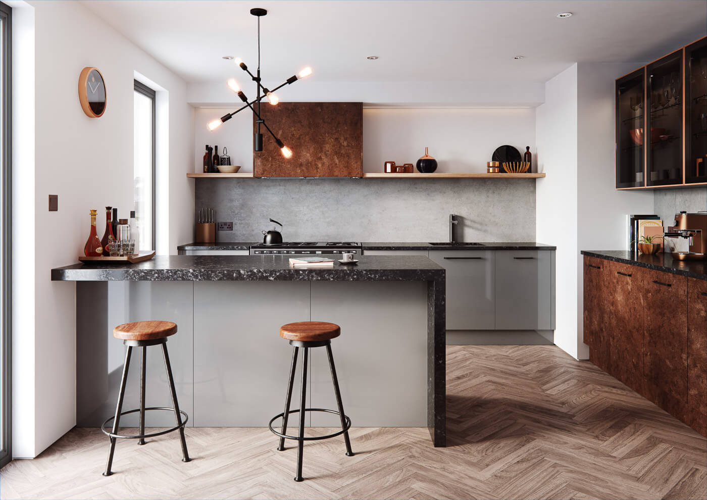 cosdon gloss and mid grey rust contemporary kitchen